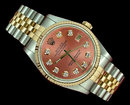 Diamond dial woman men datejust rolex watch two tone