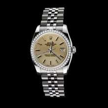 Jubilee diamond bezel rolex date just woman watch