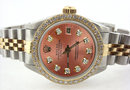Ladies ROLEX date-just watch diamond brown dial bezel