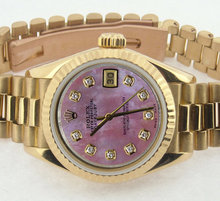 Ladies gold Rolex watch datejust pink diamond dial lady