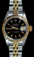 Ladies datejust rolex watch two tone stick dial woman