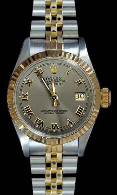 Ladies datejust rolex watch two tone gray roman dial