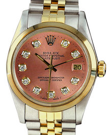 Men's rolex Date watch smooth bezel diamond dial