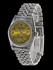 Mens datejust rolex SS champagne Arabic dial date just