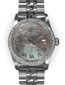 Midsize rolex datejust SS MID SIZE watch gray MOP dial