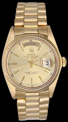 President style rolex men's watch day date model gold