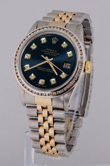 ROLEX DATEJUST watch two tone men bezel diamond