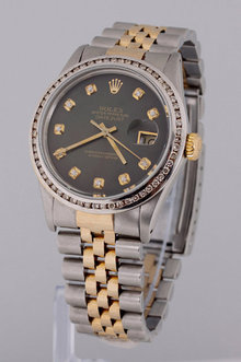 ROLEX DATEJUST watch two tone men channel bezel diamond