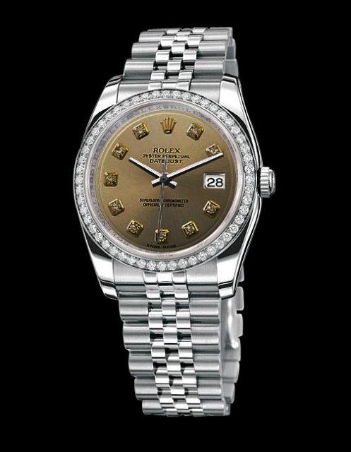 Rolex date just ladies watch bezel diamond dial rolex