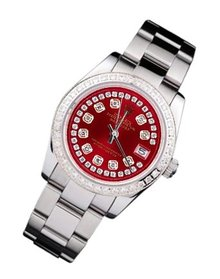 Rolex date just lady watch oyster diamond bezel dial SS