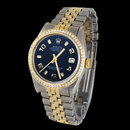 Rolex date just mens watch diamond bezel two tone