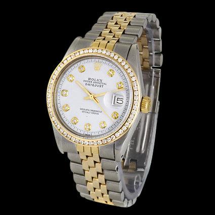Rolex date just men's watch diamond bezel two tone