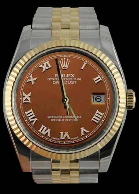 Rolex date just watch brown roman dial two tone rolex
