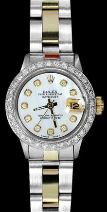 Rolex datejust diamond bezel watch two tone woman watch