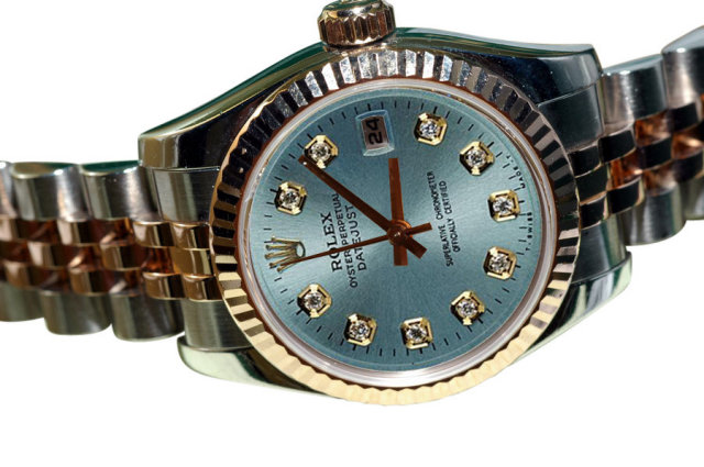 Rolex datejust ladies watch blue diamond dial two tone