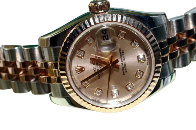 Rolex datejust ladies watch champagne diamond dial