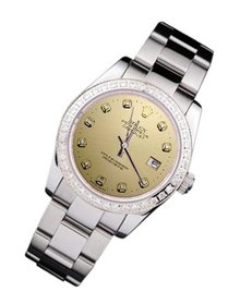 Rolex datejust lady watch champagne diamond dial SS