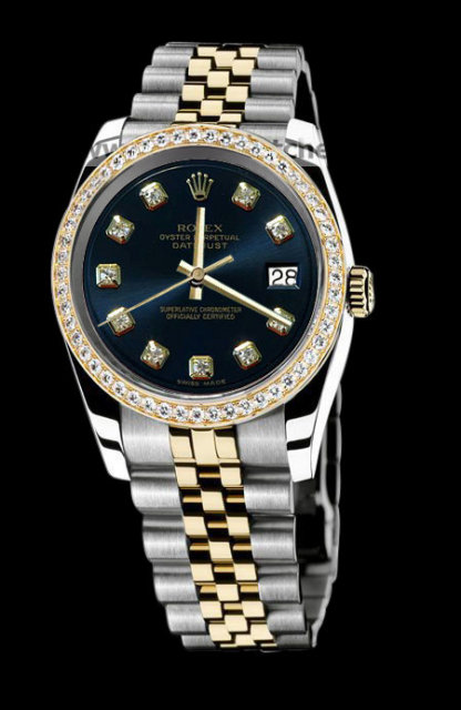 Rolex datejust men watch two tone diamond bezel