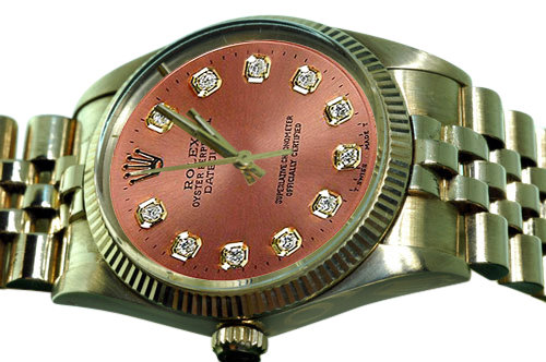 Rolex datejust mens watch brown diamond dial