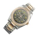 Rolex datejust two tone mens watch gray Arabic dial