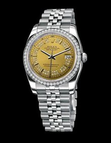Rolex datejust stainless steel watch bezel diamond dial