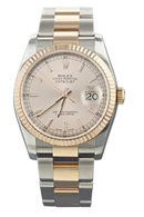 Rolex datejust two tone men's watch yellow gold