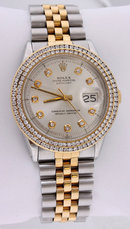 Rolex datejust watch double row diamond bezel date just