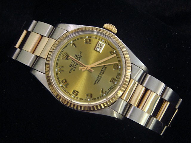Rolex datejust watch oyster bracelet Arabic dial mens
