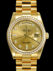 Rolex president Day Date watch for men's diamond bezel