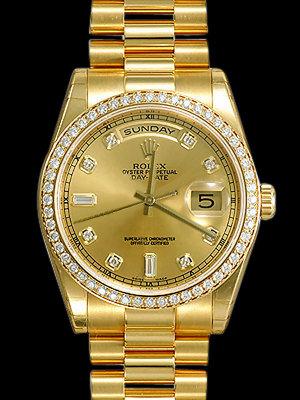 Rolex president Day Date watch for men's diamond bezel