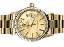 Rolex president watch day date model yellow gold men's