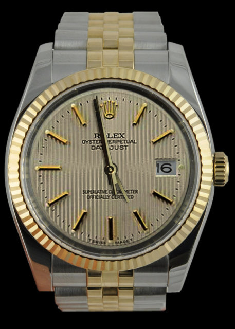 Rolex two tone datejust mens watch white stick dial