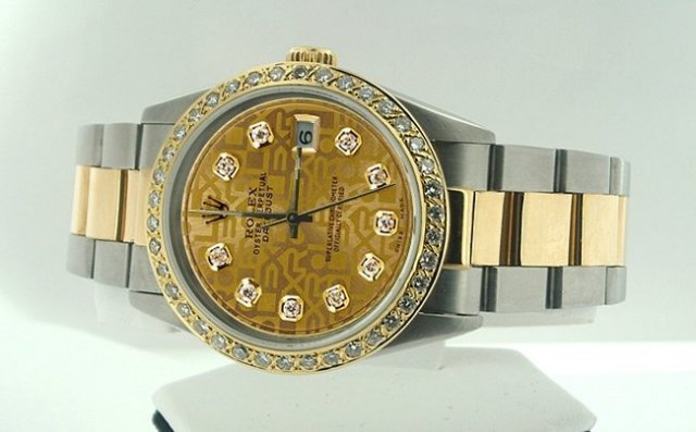 Rolex two tone datejust watch man dial diamond bezel