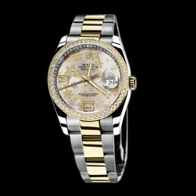 SS & gold ladies man rolex date just watch two tone