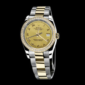 SS & gold ladies man rolex date series watch two tone