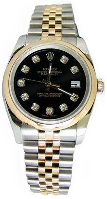 Two tone rolex date just watch diamond dial jubilee