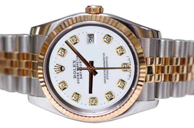 Two tone rolex date just watch white diamond dial mens