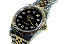 Two tone rolex mens date just watch diamond dial