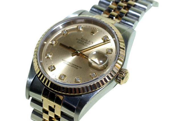 Two tone rolex men's date just watch diamond dial