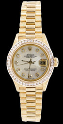 Women rolex president datejust diamond dial bezel watch