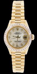 Women rolex president datejust diamond dial bezel watch