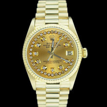 Women rolex president style watch diamond dial