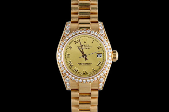 Yellow gold rolex datejust watch womens president style