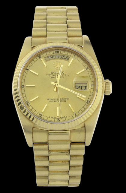Yellow gold rolex watch day date presidential mens