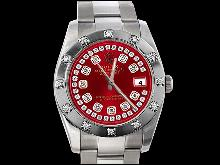 Bezel diamond pearl master red string dial rolex datejust watch oyster