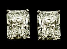 Big 5 carat radiant cut diamond stud earrings new