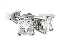 Big 6 ct. diamond earrings princess diamond studs