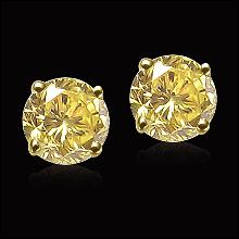 Big 6.02 carat fancy yellow diamonds stud earrings