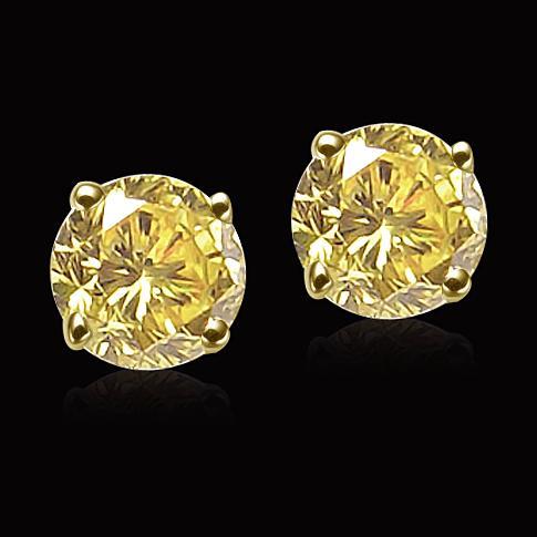 Big 6.02 carat fancy yellow diamonds stud earrings