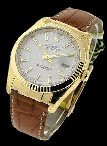 Excellent Vintage SS Rolex DateJust Mans Watch leather bracelet